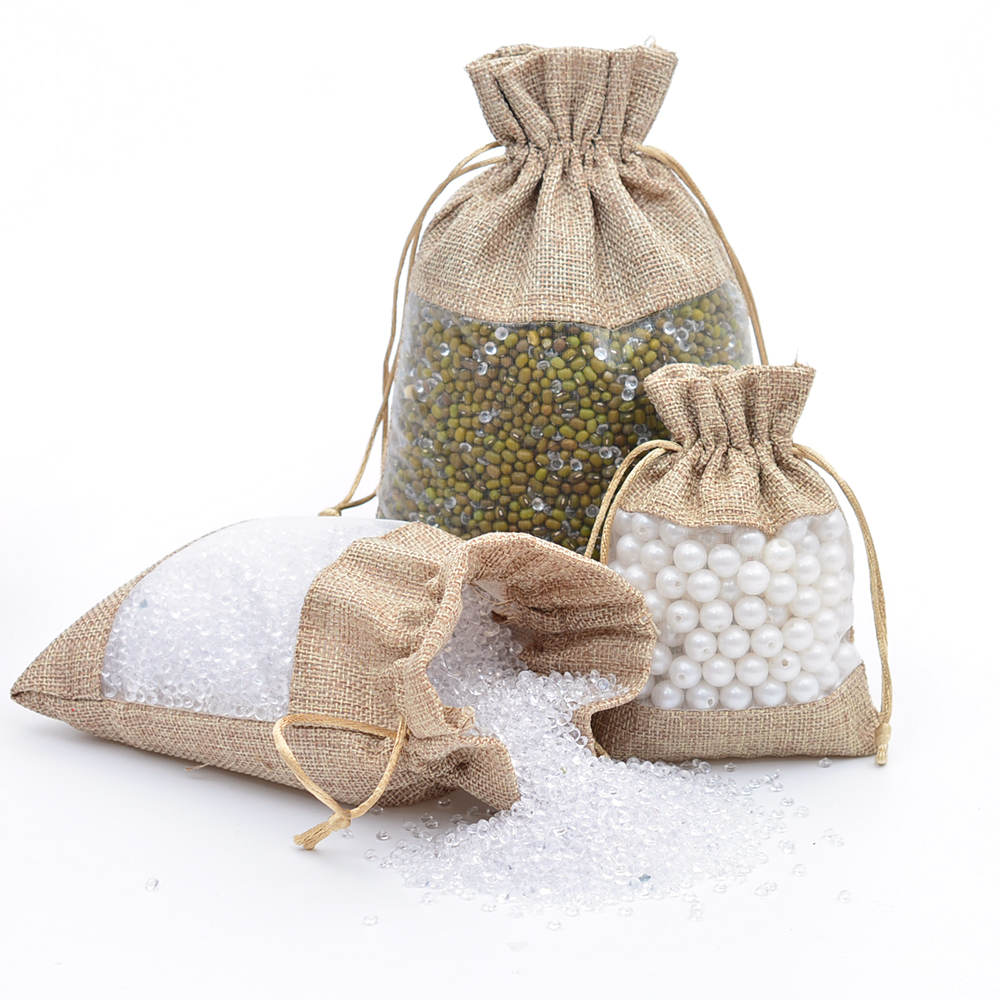 Pack of 50 Organza Jute Jewelry Bags 3 Sizes Burlap Wedding Party Favors Gift Bag For Necklace Earring Makeup Packaging