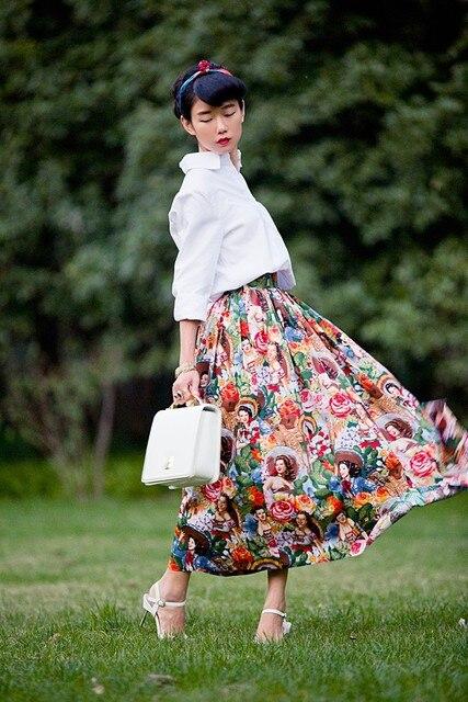 35- women vintage 50s inspired castus hawaii girl print maxi swing skirt  plus size saia rockabilly pinup faldas cotton jupe d03552339b17