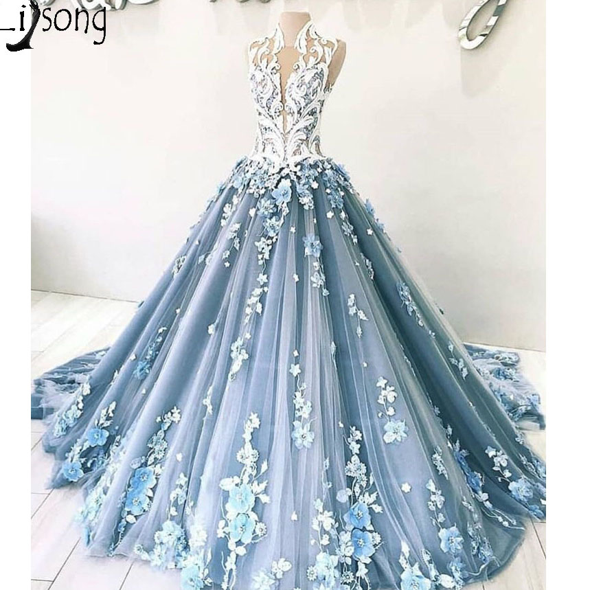Romantic 3D Flower Wedding Dresses Beaded Lace Tulle Ball Gowns High Collar Bridal Dresses Prom Gowns Vestido De Noiva