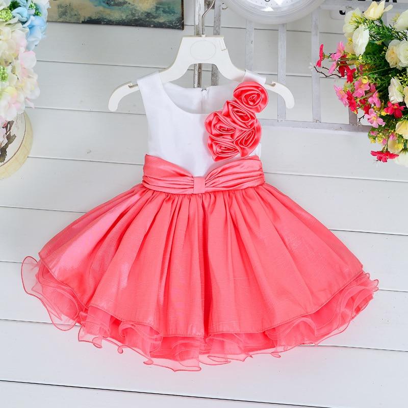 SAMGAMI BEBÉ Del Verano Nuevas Rosas Niña Bloque de Color Vestido de ...