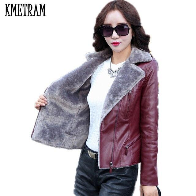 Утепленная кожаная куртка Для женщин зимняя куртка женские Костюмы 2018  плюс Размеры 5XL Высокое качество Европейский 30d1a6a0b9385