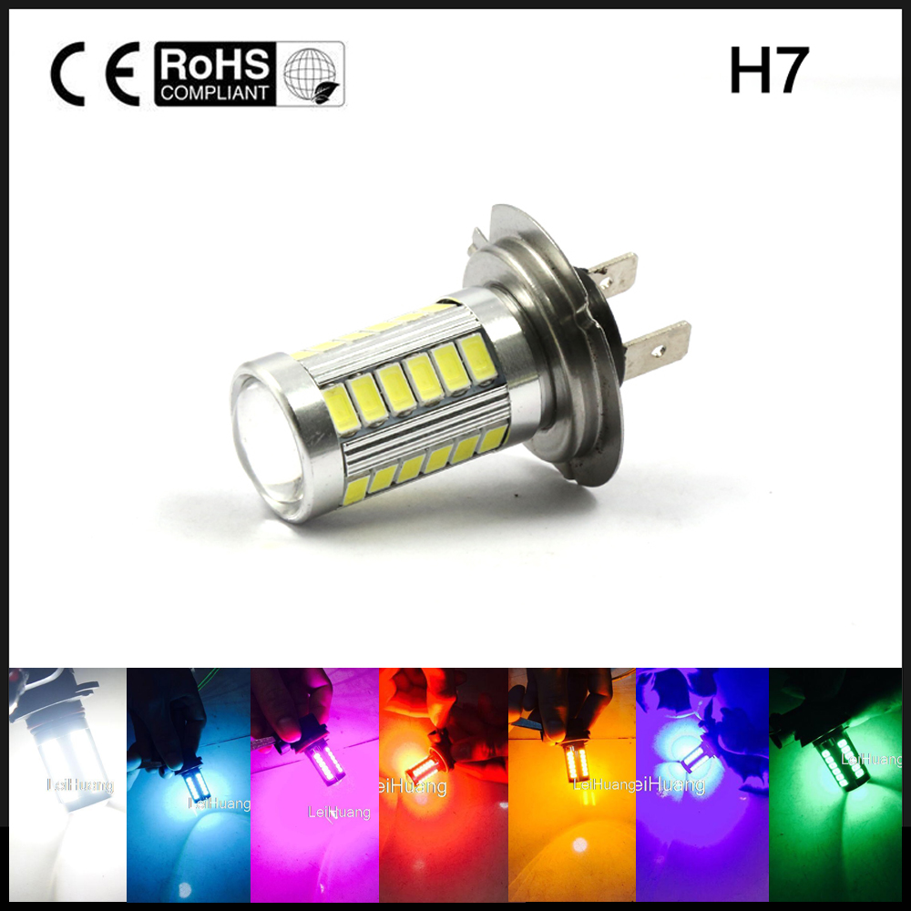 2pcs H7 High Power LED Fog Light 5630 Chip Fog Lamp Driving DRL Car Light Auto Lamp Bulb White Ice Blue Pink Green Yellow Red h7 white ice blue red amber yellow pink purple green 5630 33 smd 33led auto car fog driving light lamp bulbs 12v