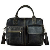 Men Original Leather Heavy Dudy Business Briefcase Laptop Case Professional Executive Portfolio Organizer Messenger Bag B331