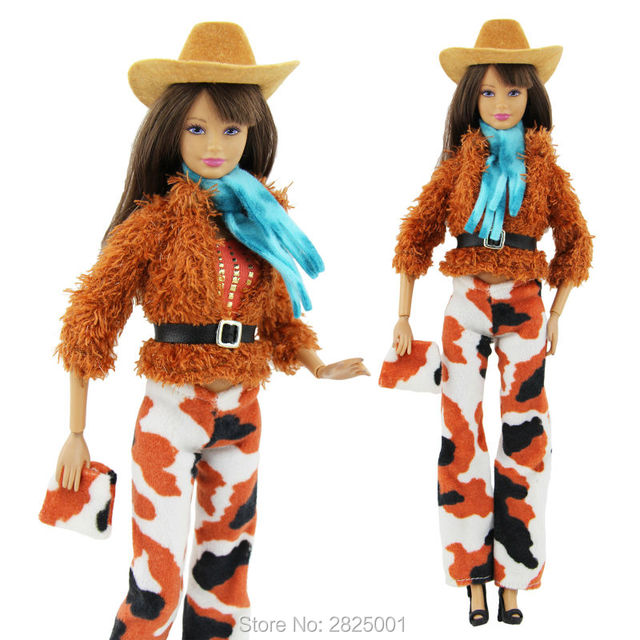 dac14d10e136f 8in1 Western Cowgirl Outfit Coat Belt Trousers Stetson Cowboy Hat Scarf  Handbag Shoes Clothes For Barbie FR Doll Accessories Toy