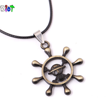 Anime ONEPICE Anchor Rudder Necklace Boat Rudder Pendant Necklace Seaman Sailor Helm Car Steering Wheel Necklace