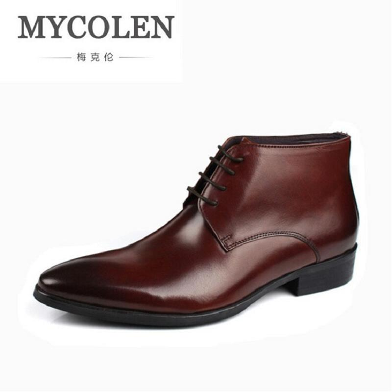 MYCOLEN 2017 New Handmade Genuine Leather Men Outdoor Autumn Winter Boots Pointed Toe Formal Men Ankle Boots coturnos masculino