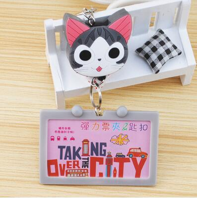 1pcs Newest Kawaii Cartoon Chis Cat PVC Bus Card Bank Card ID Badge Holder With Retractable Reels Office Supplies  цены