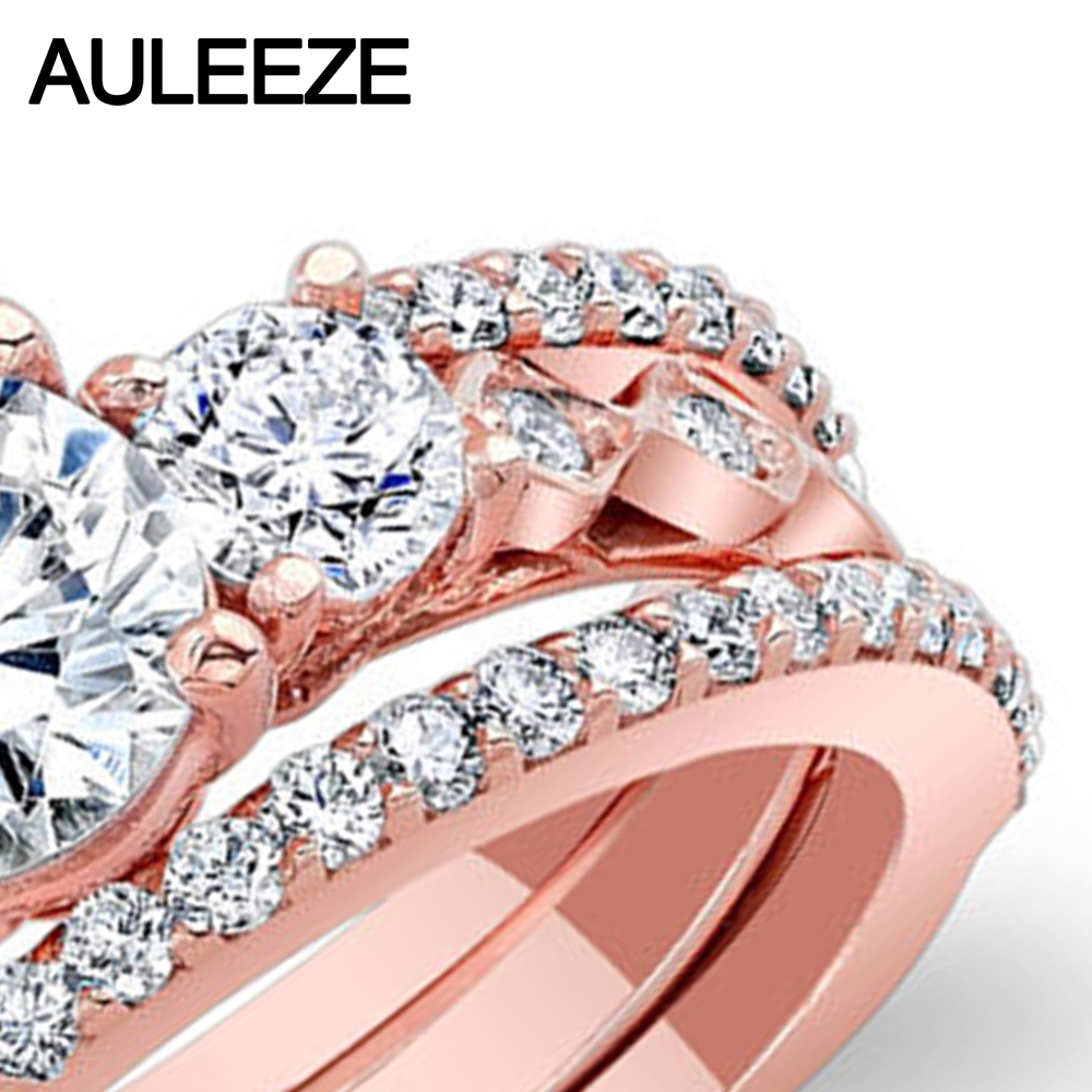 1CT Moissanites Bridal Sets 14K Rose Gold Engagement Ring Three ...