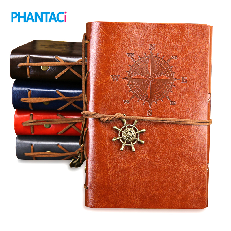 Retro Vintage Leather Cover <font><b>Notebook</b></font> Blank Diary Pirate Design Paper Note Book Replaceable <font><b>Traveler</b></font> Notepad Stationery Suppl image