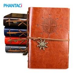 Retro vintage capa de couro caderno em branco diário pirata design papel nota livro substituível viajante bloco de notas artigos de papelaria suppl