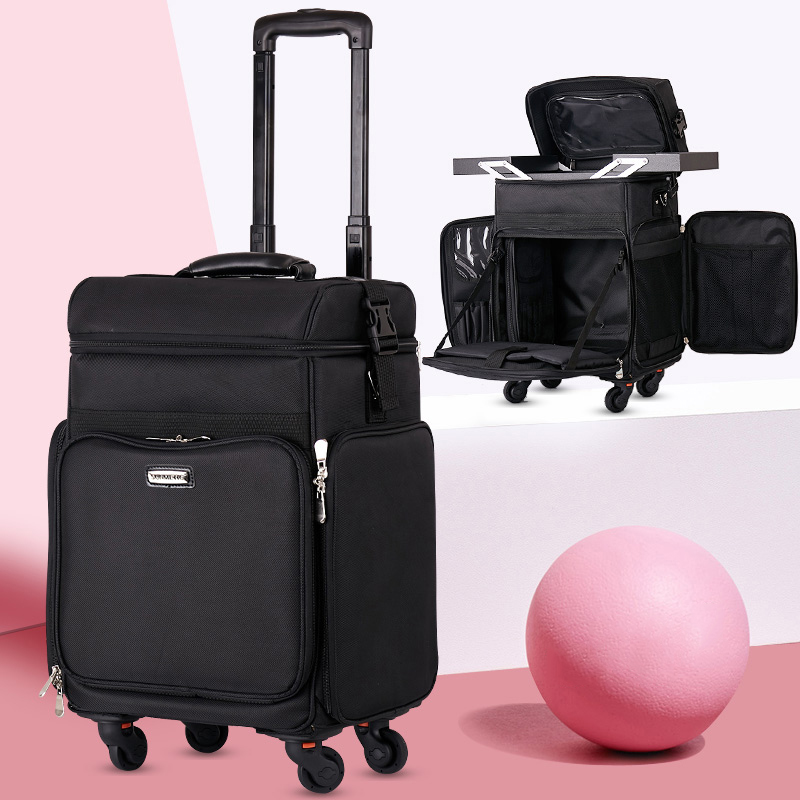 Carrying multi-function advanced luggage Trolley embroidery Oxford cloth Korea beauty nail jewelry make up suitcaseCarrying multi-function advanced luggage Trolley embroidery Oxford cloth Korea beauty nail jewelry make up suitcase