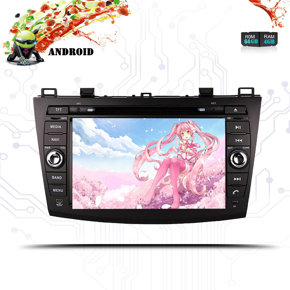 8 inch in dash Head Unit 2 din Car DVD Player GPS Navigation stereo <font><b>Radio</b></font> Android 9.0 for <font><b>Mazda</b></font> <font><b>3</b></font> <font><b>2010</b></font> 2011 2012 2013 Multimedia image