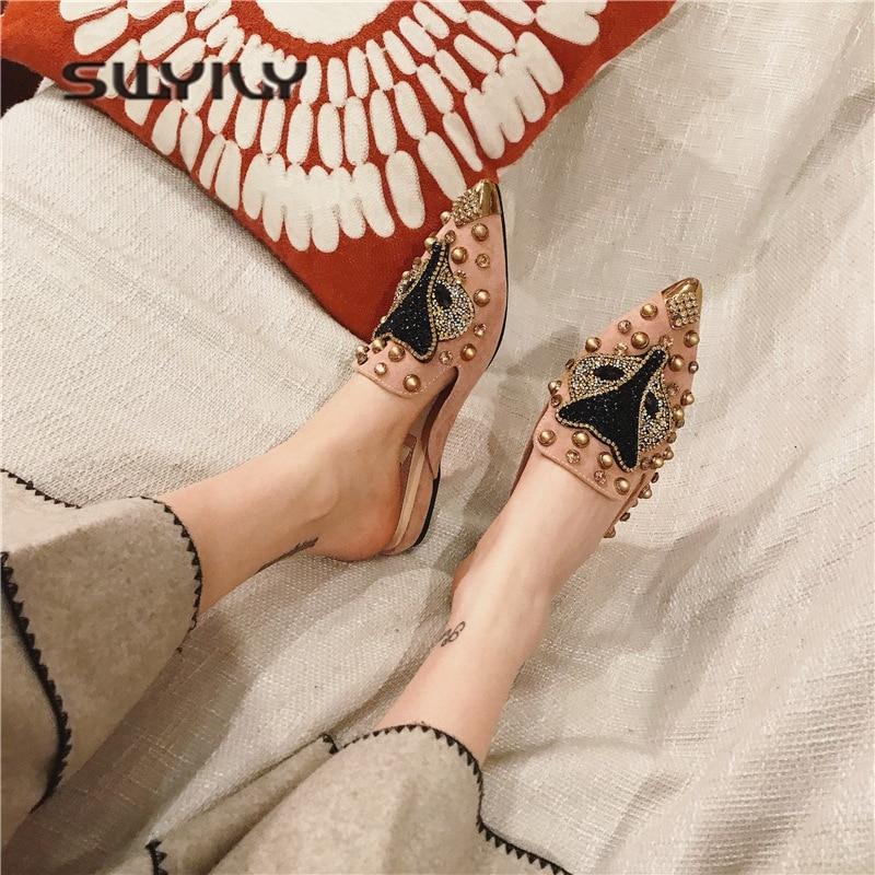 090dc3f7f SWYIVY Apartamentos das Mulheres Sapatos Chinelos Meia Primavera 2018 Fox  Strass Slides Mulas Sapatos Femininos Flats Calçados Casuais Rebite Plana  em ...
