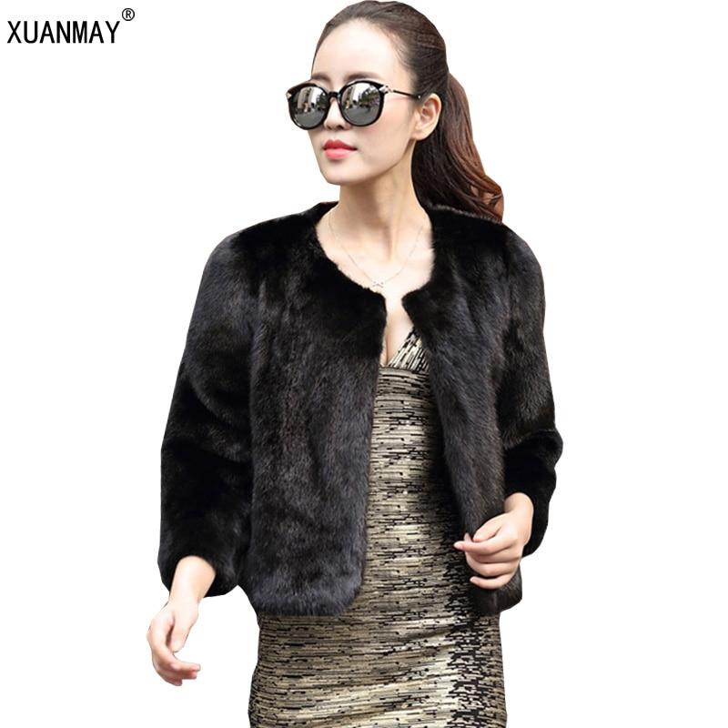 beddea69051f Imitation de haute qualité Automne hiver femmes manteau de fourrure  imitation léopard de l eau cheveux court chaud épais de fourrure imitation  de mode ...