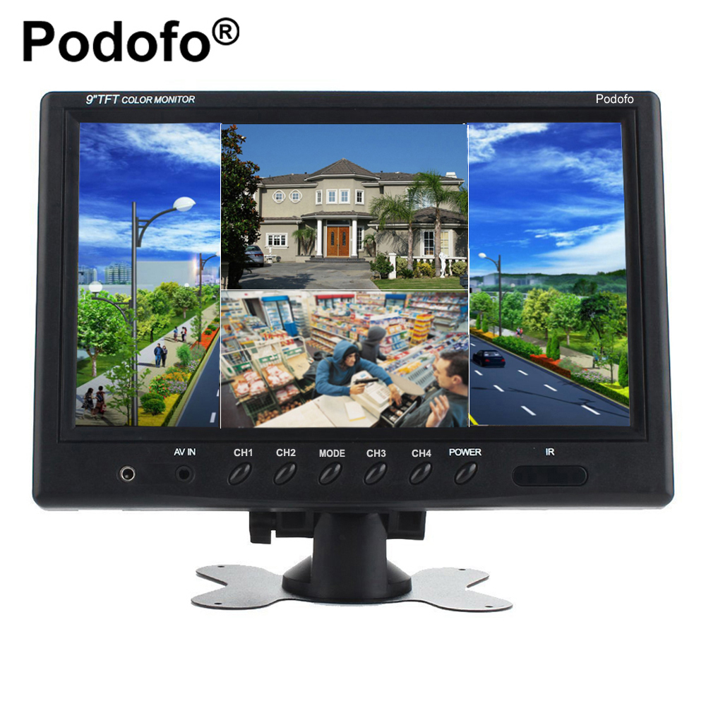 Podofo 9 TFT LCD Split Screen Quad Monitor CCTV Security Surveillance Car Headrest Rear View Monitor 4 RCA Connectors 6 Mode diysecur 4pin dc12v 24v 7 inch 4 split quad lcd screen display rear view video security monitor for car truck bus cctv camera