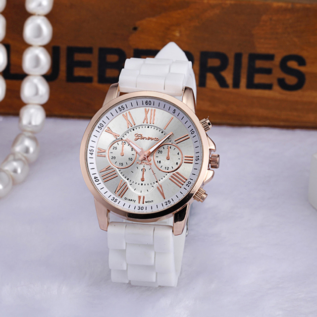 Fashion Women Geneva Watch Silicone Rubber Casual Quartz watches Analog Sports B