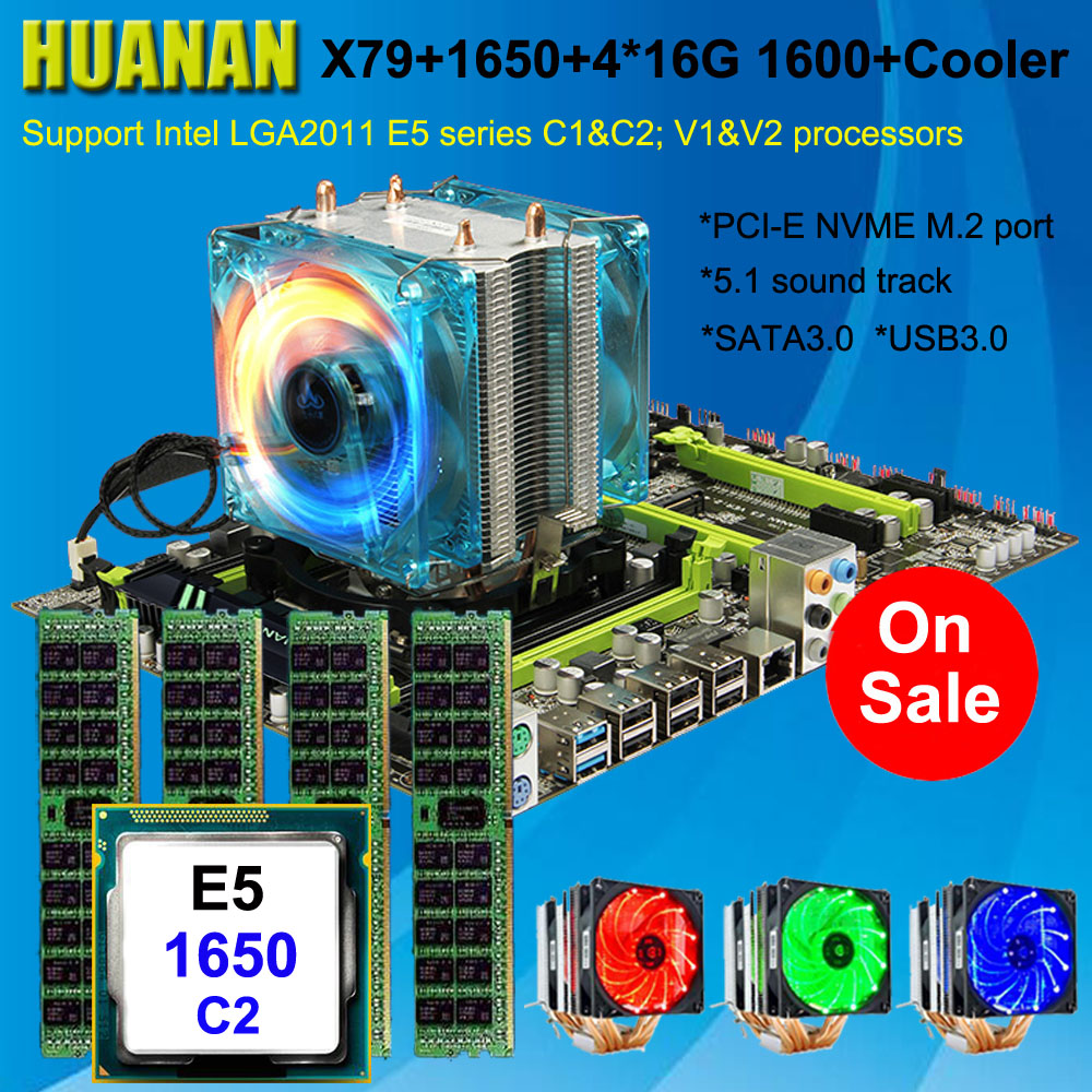 Build perfect computer HUANAN X79 motherboard CPU RAM combos Xeon E5 1650 C2 with 6 heatpipes cooler RAM 64G(4*16G) 1600 RECC