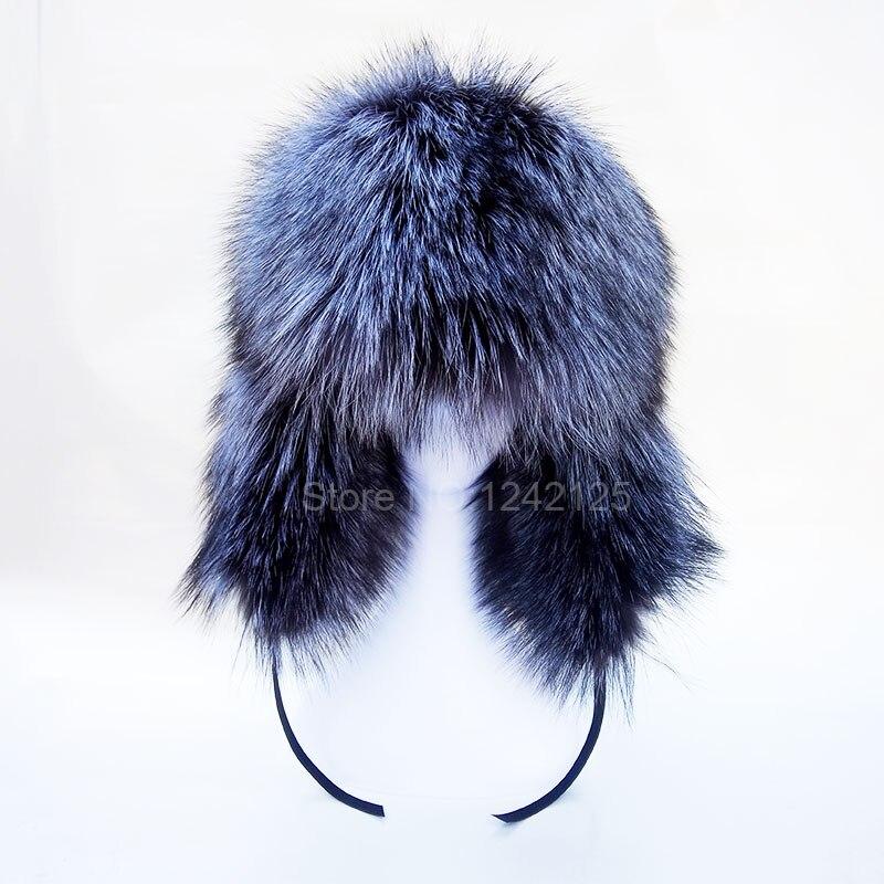 Hiver russie parent-enfant enfants garçon hommes enfants femmes réel argent fourrure de renard chapeau complet chaud entier fourrure chapeau oreille casque de fourrure chapeaux casquette