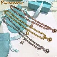Hot sell titanium steel jewelry brand double T letter U chain chain lock Bead Bracelet for men and women fashon boho fine jewelr