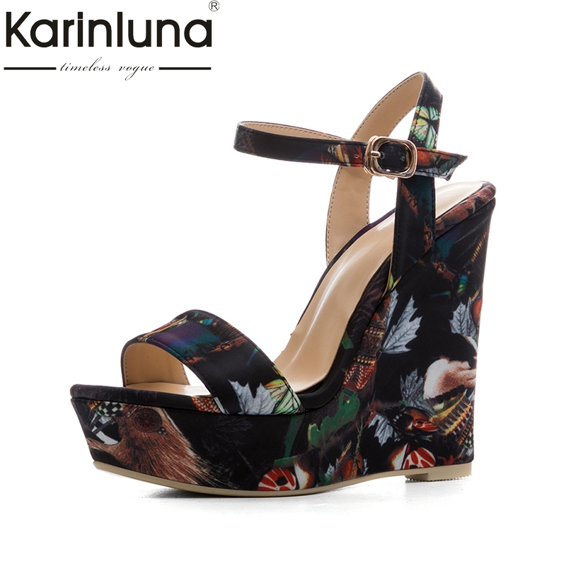 KarinLuna new size 34-41 platform brand shoes woman sexy flowers printing wedges high heels party summer shoes sandals women