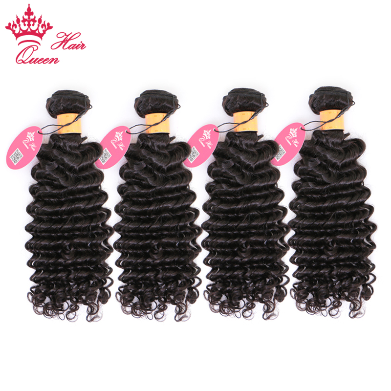 Queen Hair Products Deep Wave Indian Hair Weave 4pcs lot Bundles Deal Remy Hair Weaving Human