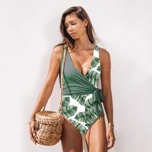 Новинка, сдельный Купальник для женщин, из кусков, пуш-ап, купальник, с принтом листьев, пляжный костюм, высокое качество, Женский Монокини, боди