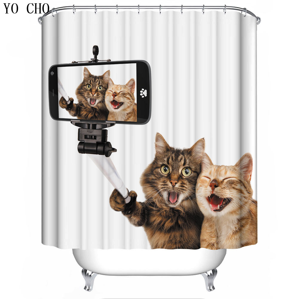 Funny Halloween Shower Curtain Dog Cat Skull Anime 3d Chrismas Bath For The Bathroom Fabric With Hook Home Decoration In Curtains From