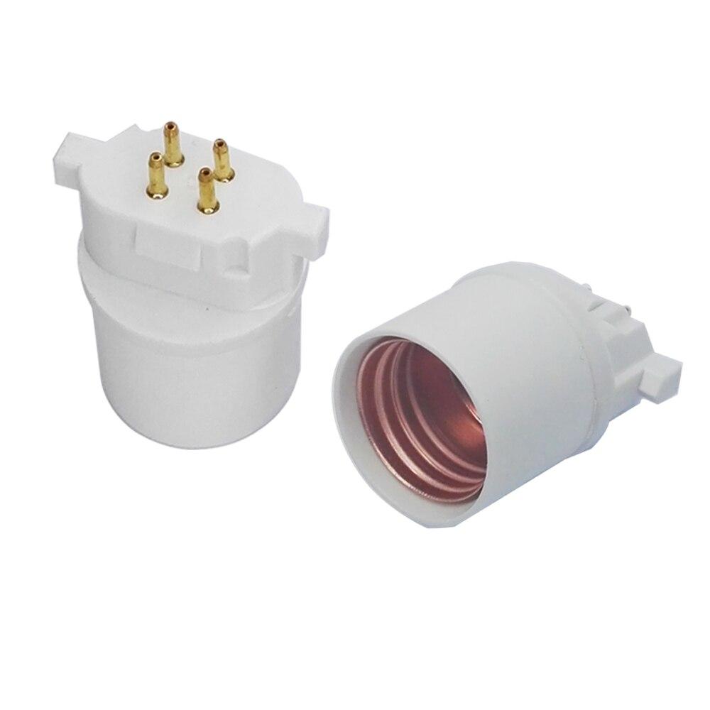2PCS GX10Q To E26 Light Socket Adapter 4Pin CFL GX10Q To E26/E27 Lamp Base Converter Need Bypass Ballast