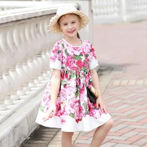Image 3 - Beenira çocuk giysileri 2020 yeni yaz tarzı çocuk kısa kollu moda çiçek prenses elbiseler kızlar için tasarım giyim elbise