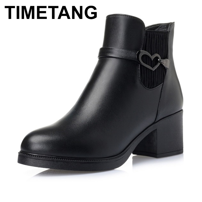 TIMETANG High quality genuine leather boots square heels autumn winter ankle boots sexy fur snow boots shoes woman цены онлайн