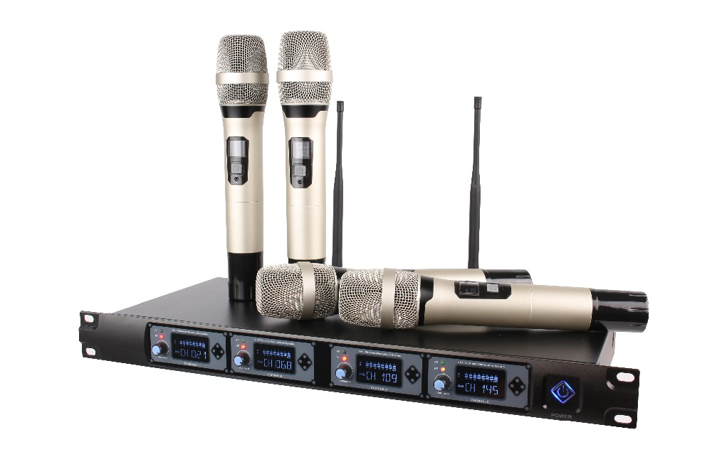 wireless microphone system professional microfone 4 channel uhf dynamic professional 4 handheld. Black Bedroom Furniture Sets. Home Design Ideas