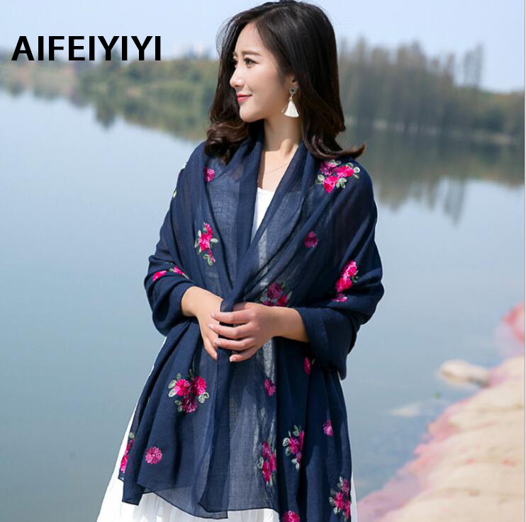 2018 New National Wind Spring Summer Autumn Color Flower Embroidery Cotton Muffler Pure Color Long Lady Scarf