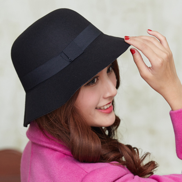 Women Wool Felt Fedora Hats Fashion Ladies Girls Stingy Brim Bucket Hats  Autumn Winter Female Dome Cap Sweet Style GH-211 cb45d45c8bf7
