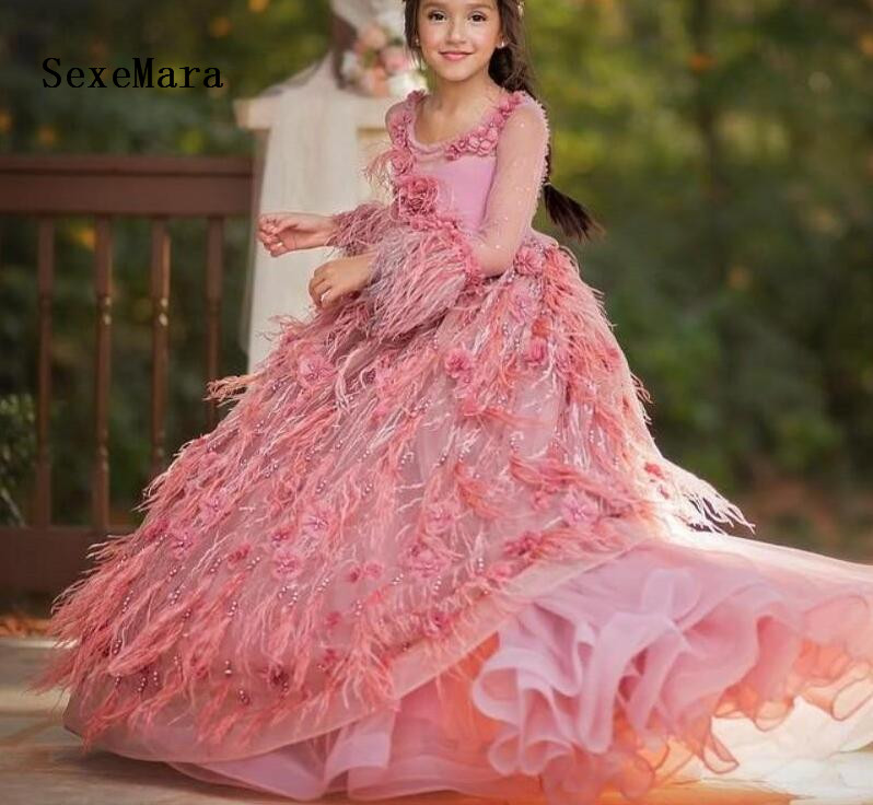 a9920c6d51b Luxury Pink flower girl dresses for wedding feather kids evening ball gowns  long little girls pageant dresses with train