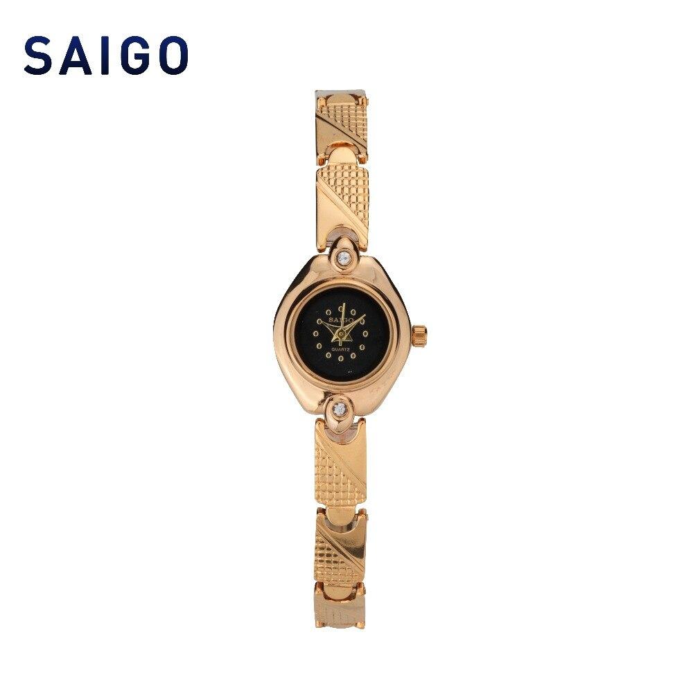 2018 HONG KONG SAIGO New Battery quartz Luxury Golden Women's Watch Gift for Ladies top femme women watch clock ali express 503759053759 ebook gps navigation battery 3 7v battery hong kong huafeng e100 battery