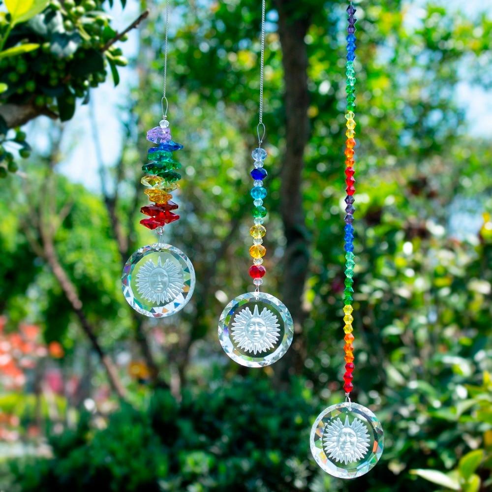 H&D 3pcs/set Chakra Suncatcher With Sunflower Pendant Rainbow Hanging Crystal Sun Catcher For Window Home Garden Decoration Gift