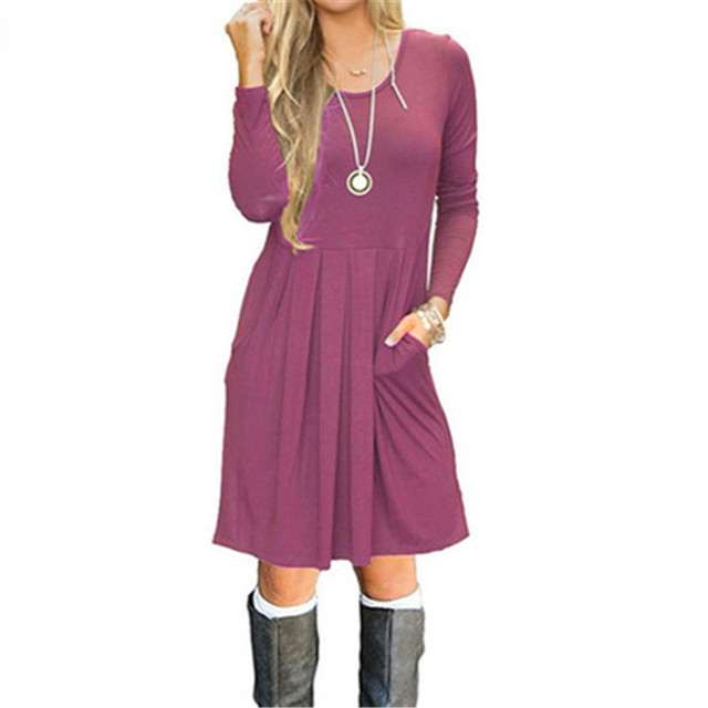 2018 Fall Winter Fashion Women's Dress long sleeve round neck solid color with pocket dress