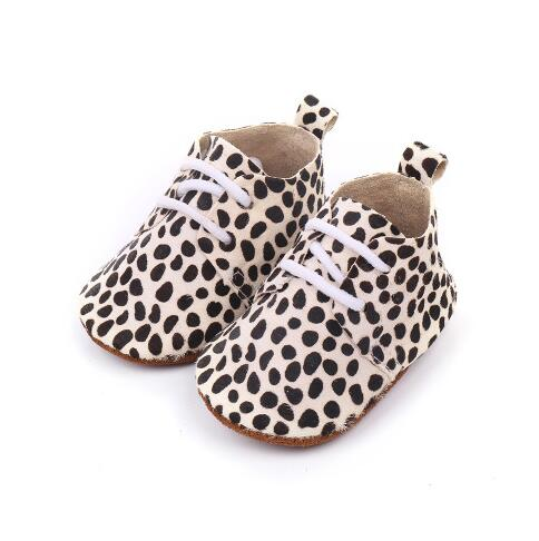Genuine Leather Baby Shoes  Lace Baby Moccasins Oxford Leopard Print Baby Girls Soft Shoes Horse Hair Boys First Walkers