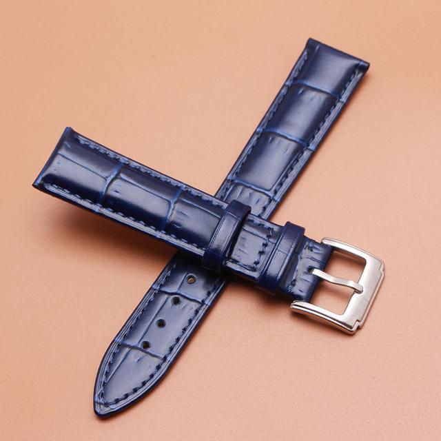 Nova Alta Qualidade 18mm 19mm 20mm 21mm 22mm pulseiras de Couro Genuíno com prata fosco metálica faixa de relógio de fivela acessórios cinta