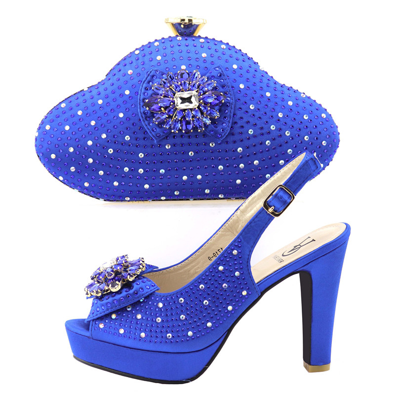 Aso ebi african shoes matching bag in royal blue sandal shoes and clutches bag african party shoes and bag set SB8296-4