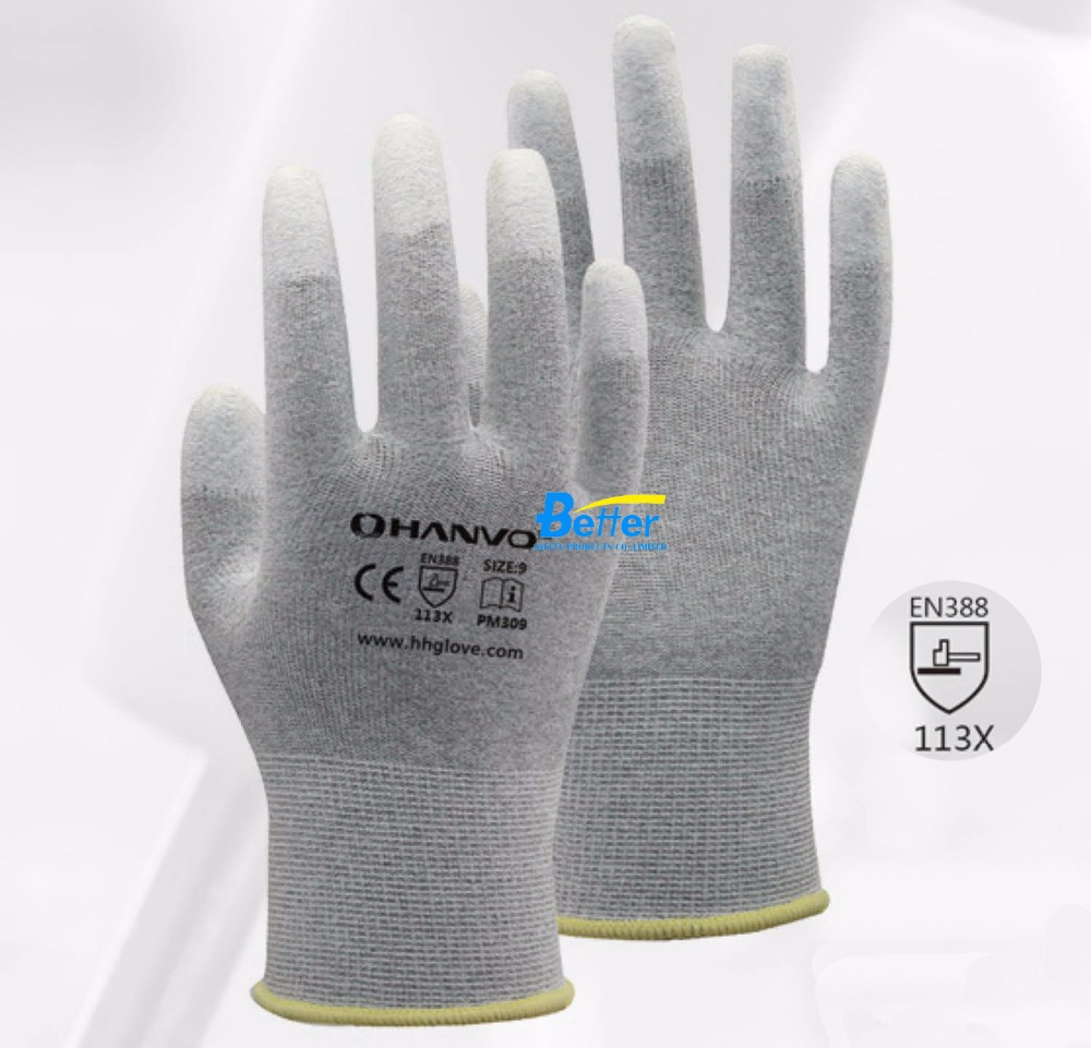 13 gauge carbon liner ESD Safe Anti-static PU Finger Top Coated Work Gloves for Electronic Works  цена