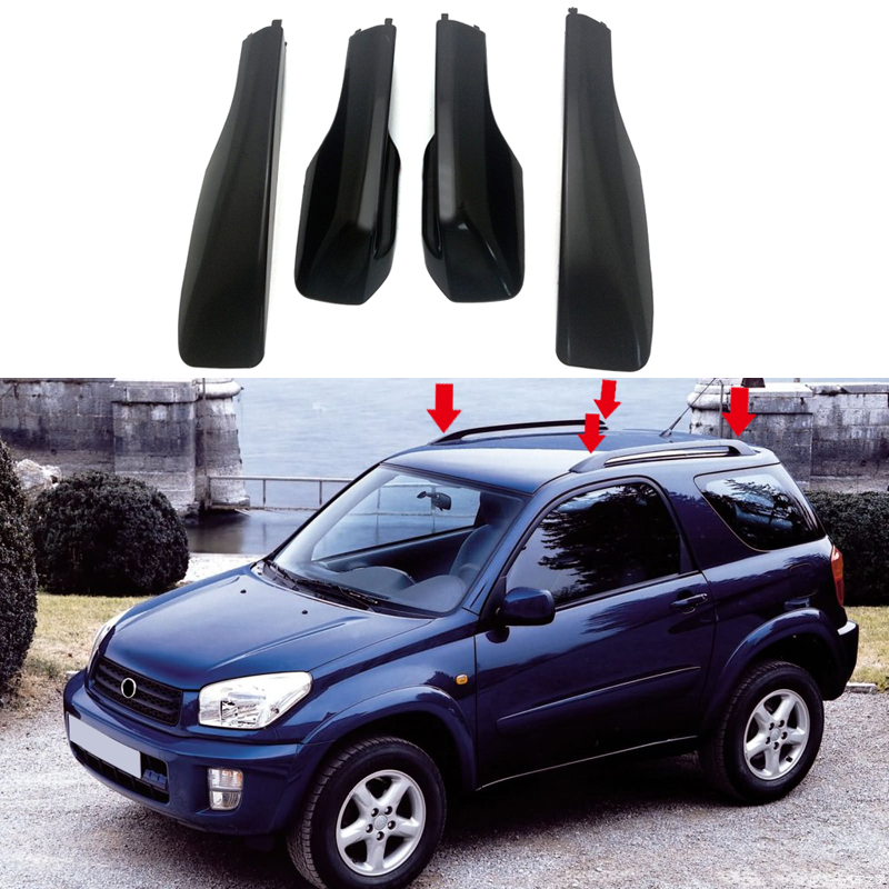 Black Car Styling Roof Rack Cover Bar Rail End Replacement Shell Accessories 4pcs for Toyota RAV4