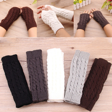 Fashion Unisex Soft Fingerless Comfortable Warm Winter Long Gloves Women Men Knitted Gloves Over Wrist Solid Color Mitten