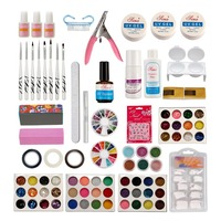 Anmas rucci Nail Art DIY Kit Acrylic Liquid Glitter Powder UV Gel Brush Glue Tools Tips Set