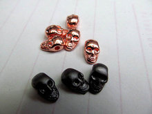 100pcs 6-12mm Mestal skull spacer bead skeleton charm beads hematite silver gold matte mixed Tone 3D Fitness Charm connector bea