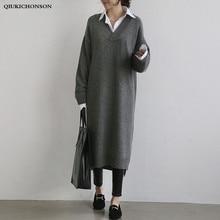 inverno qualidade vestidos camisola