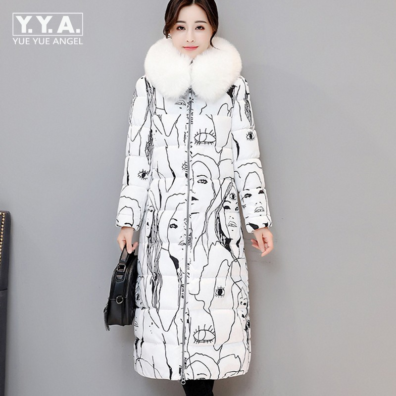 Fashion Colorful Printed Womens Faux Fur Hooded Parka Slim Fit Straight Womens Winter Jacket Thick Warm Down Jacket Coat Female winter autumn fur collar cowboy parka faux lamb wool warm denim jacket coat mid long thick womens jeans parkas