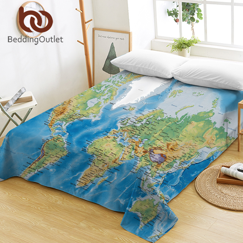 US $17.0 40% OFF|BeddingOutlet World Map Bed Sheets Vivid Printed Blue Flat  Sheet Ocean Bed Linen Microfiber Sofa Cover Multi Usages Twin Queen-in ...