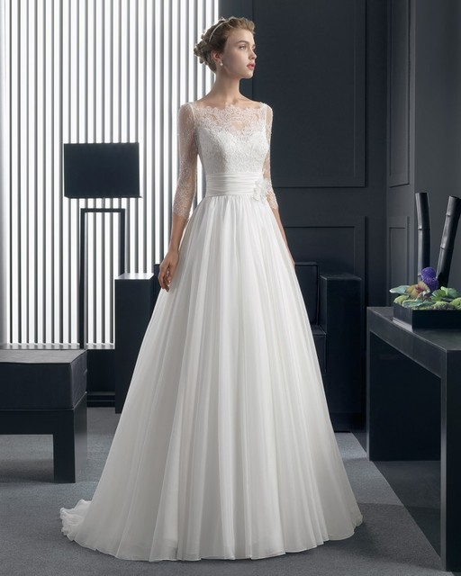 f88376ca9056 Wedding Dress Empire Waist White Bridal Gown Flowers Scoop Neck With 3/4  Sleeves Chiffon Lace A-line Vestido De Noiva Dresses