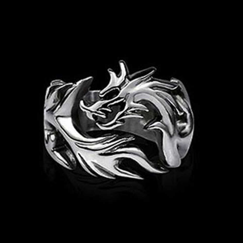 2018 New Fashion Jewelry Metal Solid Inside Dragon Rings Punk Rings Men biker ring Argolas